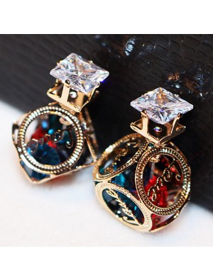 Colorful Hollow Camellia Ball Crystal Cubic Girls Earring Studs