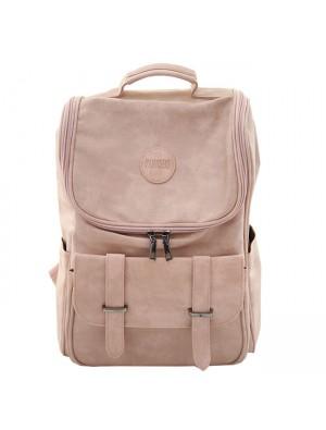 Fresh Double Buckle Girl Large High School Bag Soft PU Student Backpack