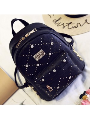 Sweet PU Rivet Girl College Rucksack Small Quilted Lady Backpack