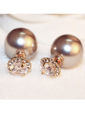 Fashion Double Sided Pearl Ball Crystal Women Earrings Studs