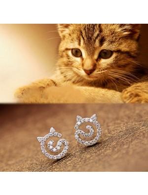 Cute Kitten Rhinestone Earrings Cat Silver Women Earrings Studs