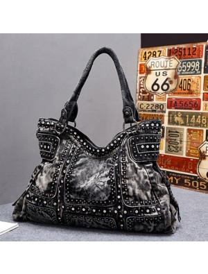 Punk Rivet Blue Denim Large Women Retro Handbag Shoulder Bag