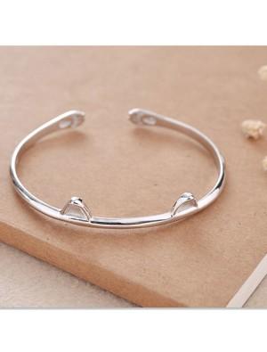 Cute Cat Ear Silver Open Bracelet Lover Present Jewelry Kitten Foot Women Bracelet