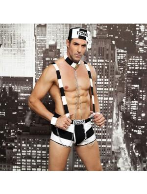 Sexy Bar Performance Erotic Underwear Male Prisoner Costume Stripe Uniform Nightclub Man Conjoined Lingerie