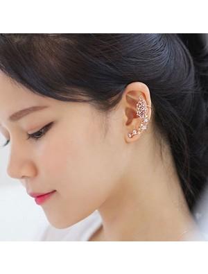 Cute Gold Butterfly Rhinestone Ear Cuff Stud Girl Earring Clips