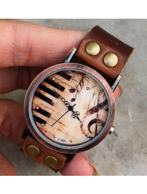 Handmade Piano Music Retro Leather Watch