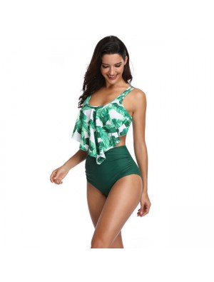 Sexy Banana Leaves Swimsuit Ruffle High Waist Summer Bikinis