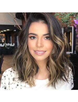 Unique Curls Big Wave Gradient Brown Partial Shoulder Hair Wig