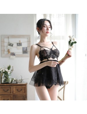 Sexy Pajamas Sling Perspective Skirt Women Lingerie Lace Bra Set Nightdress