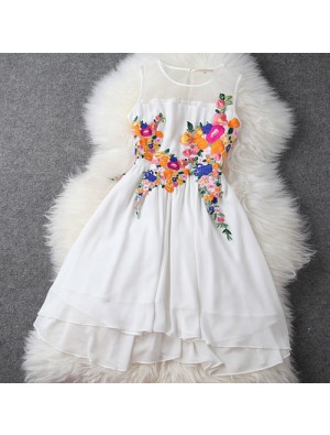 Summer New Stereoscopic Embroidery Irregular Chiffon Dress