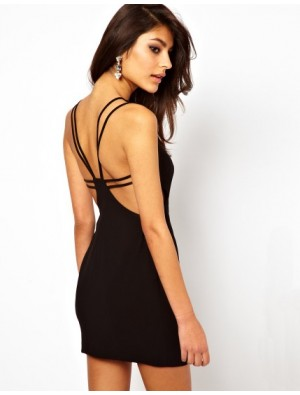 Fashion Black Hollow Slim Dress