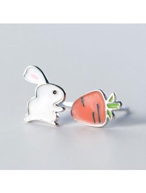 Cute Rabbit Asymmetric Carrot Earrings Funny Silver Jewelry Earrings Studs