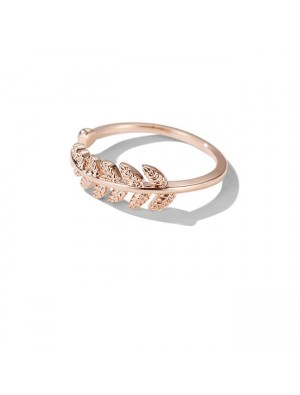 Fashion Feather Rose Gold Open Women Ring Leaf Ring