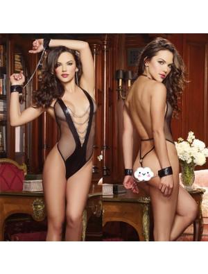Sexy Black Siamese Chain Prisoner Gift Handcuffs Women Lingerie