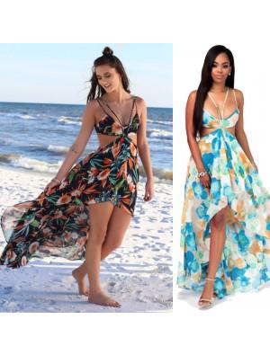New Women's Bohemia Long Flower Summer Dresses Chiffon Beach Dress