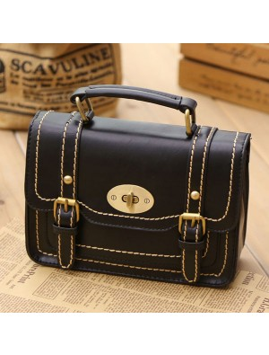 Retro Buckle Leather Messenger Bag Shoulder Bag