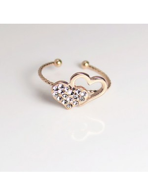 Romantic Cute Love Heart Rhinestone Opening Ring