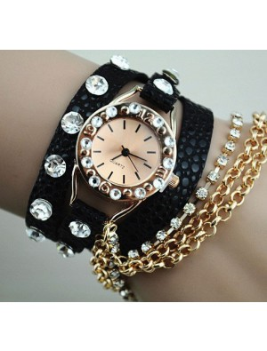 Full Rhinestone Leather Metal Bracelet Watch