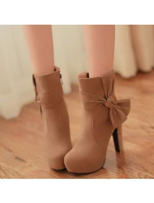 New Sweet Bowknot High Heel Side Zipper Boots