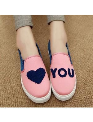 Cute Heart Asymmetric Pattern Canvas Shoes