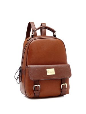 Retro Elegant Girl Large School College PU Backpack