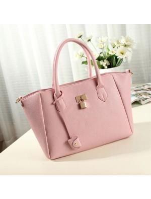 Sweet Simple Lady Solid Metal Lock Shoulder Bag Handbag