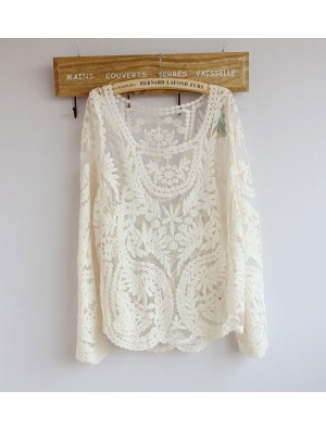 Sexy Lace Gradient Hollow Out Perspective Long-sleeved Shirt