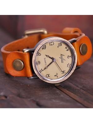 Retro Constellation Symbol Leather Watch