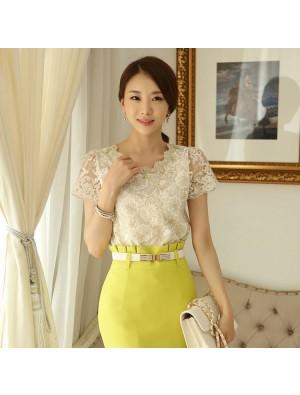 Elegant Lace Gauze Beading Chiffon Shirt