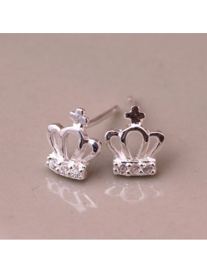Cute Crown Silver Earring Stud