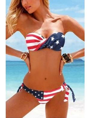 New Sexy American Flag Stripes Summer Bikinis Swimwear