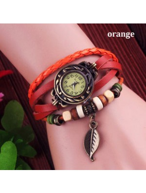 Retro Cute Leaf Leather Bracelet Watches