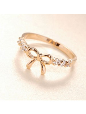 Lovely Cute Rhinestone Bow Ring