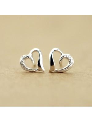 Romantic Heart-Shaped 925 Sterling Silver Earrings