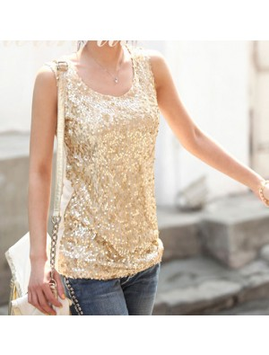 Sexy Elegant Round Neck Sequined Vest