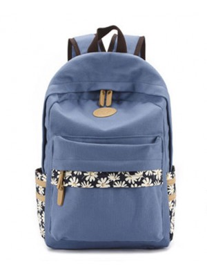 Fresh Floral Print Canvas Flower Lady School Backpacks