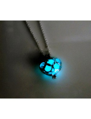 Luminous Stone Necklace Hollow Out Love Pendants