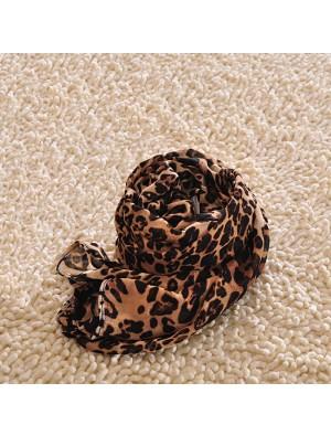 Fashion Leopard Printed Chiffon Infinity Scarf