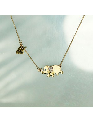 Cute Mother Elephant Baby Elephant Blue Eyes Diamond Ear Pendant Necklace
