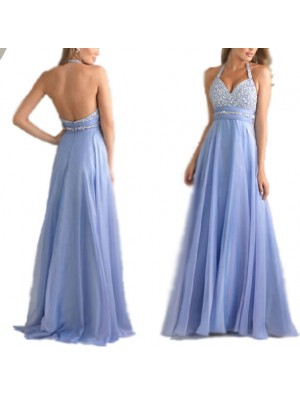Elegant Women's Mesh A-line V-neck Sequins Backless Ruffles Chiffon Formal Evening Dresses Prom Gowns Long Maxi Dress