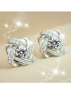 Bright Twine Clover Inlay Diamond Stylish Silver Banquet Jewelry Earrings