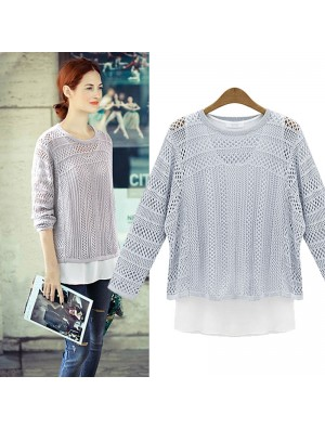 Fashion Blue Hollow Out Two-piece Set Sweater