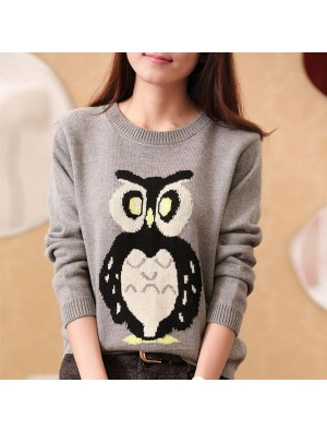 New Owl Print Cartoon Knit Sweater