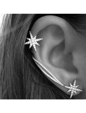 Fashion Winky Diamond Snowflake Chain Asymmetrical Ear Clips Earrings