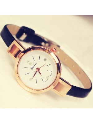 Retro Thin Strap Diamond Elegant Ladies Alloy Quartz Wrist Rose Gold Watch