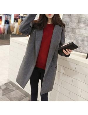 Fashion Double Breasted Lapel Long Woolen Coat