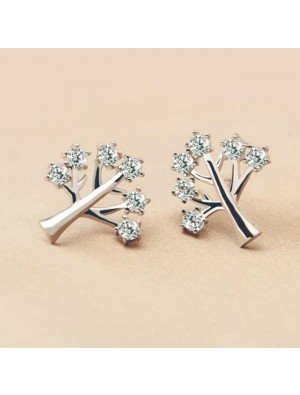Fashion 925 Silver Creativity Tree Women Rhinestone Earrings Studs