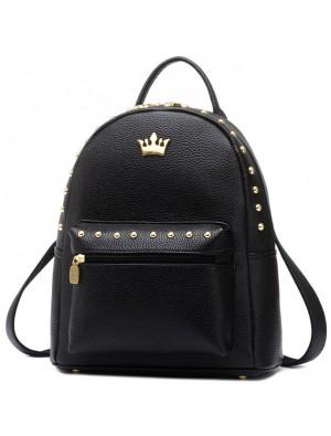 Leisure Lady Rucksack Punk Crown Rivet PU School Backpack