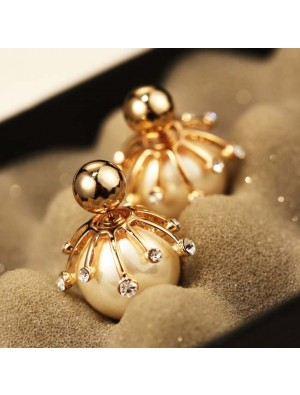 Fashion Frosted Pearl Bulb Diamond-bordered Silver Women Ball Earring Studs