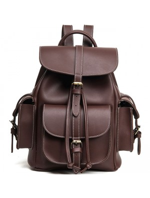 Leisure Brown Three Pockets PU Smooth Large School Backpacks